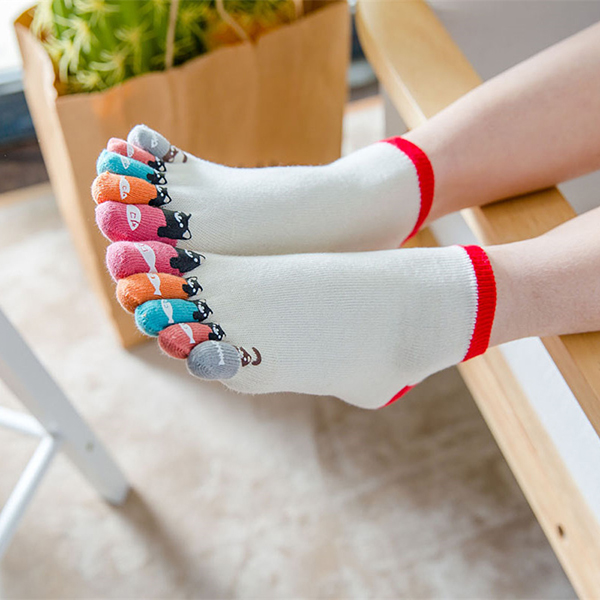 Women Girl Cute Cartoon Cotton Five Toe Socks