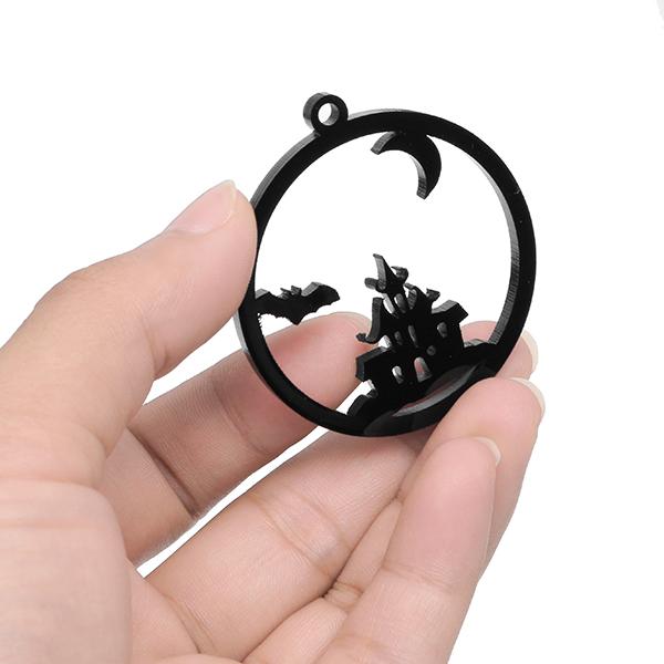 Acrylic DIY Frame Bezel Pendant Black Plastic UV Resin Box Christmas Decoration Gift 8 Pattern with Hole