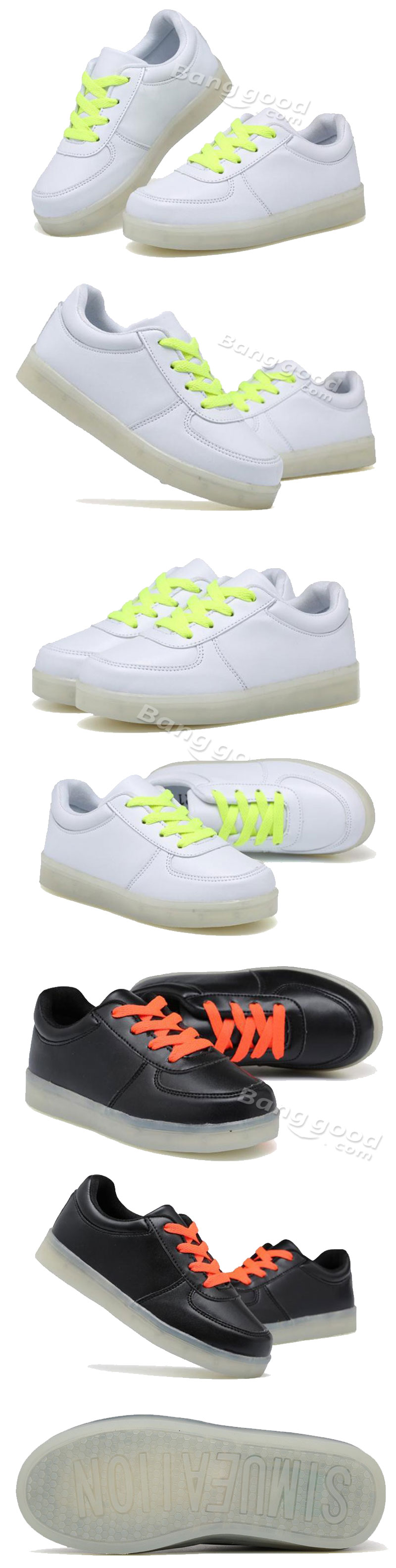 Children Teenager LED Light Sneakers PU Leather Kid Casual Shine Boys Girls Lace Sports Rubber Shoes