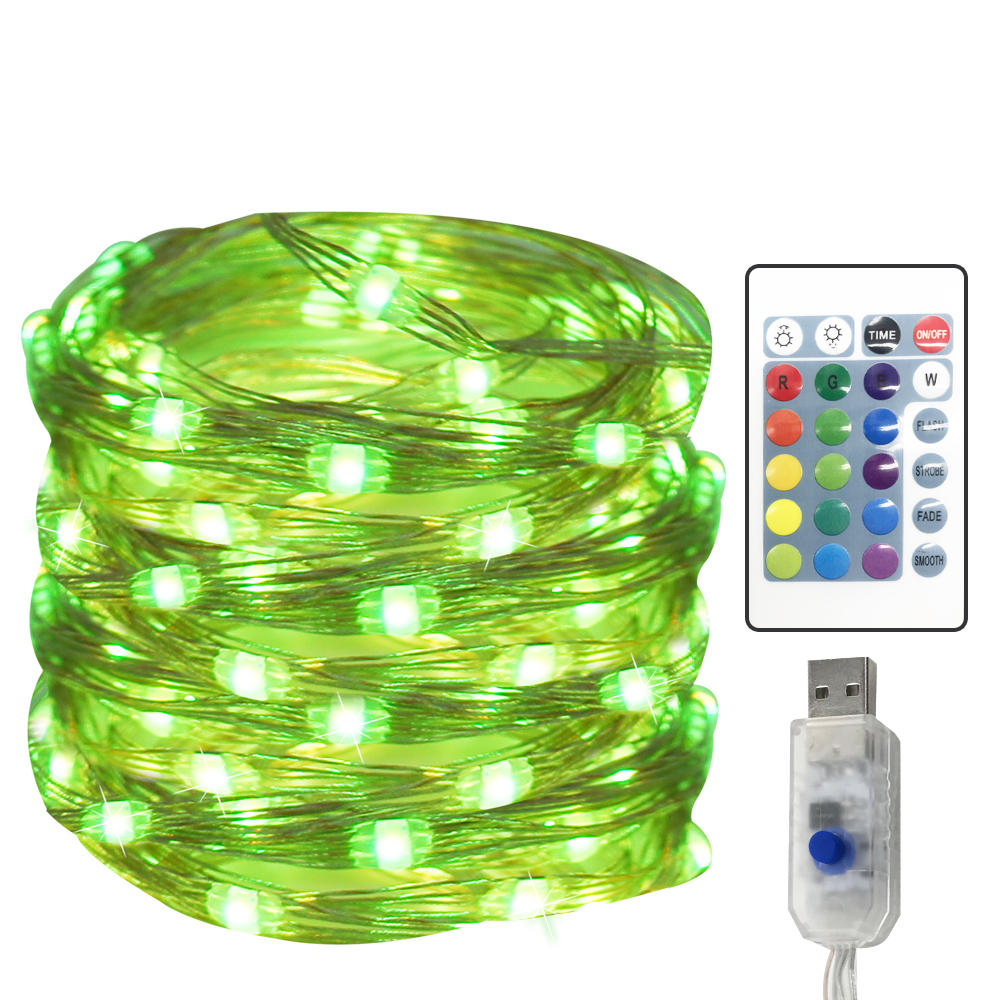 16 Colors 10 M 100 Light USB Copper String with Remote-Controlled Adjustable Copper Light Four-wire Sliver Decorative Lights