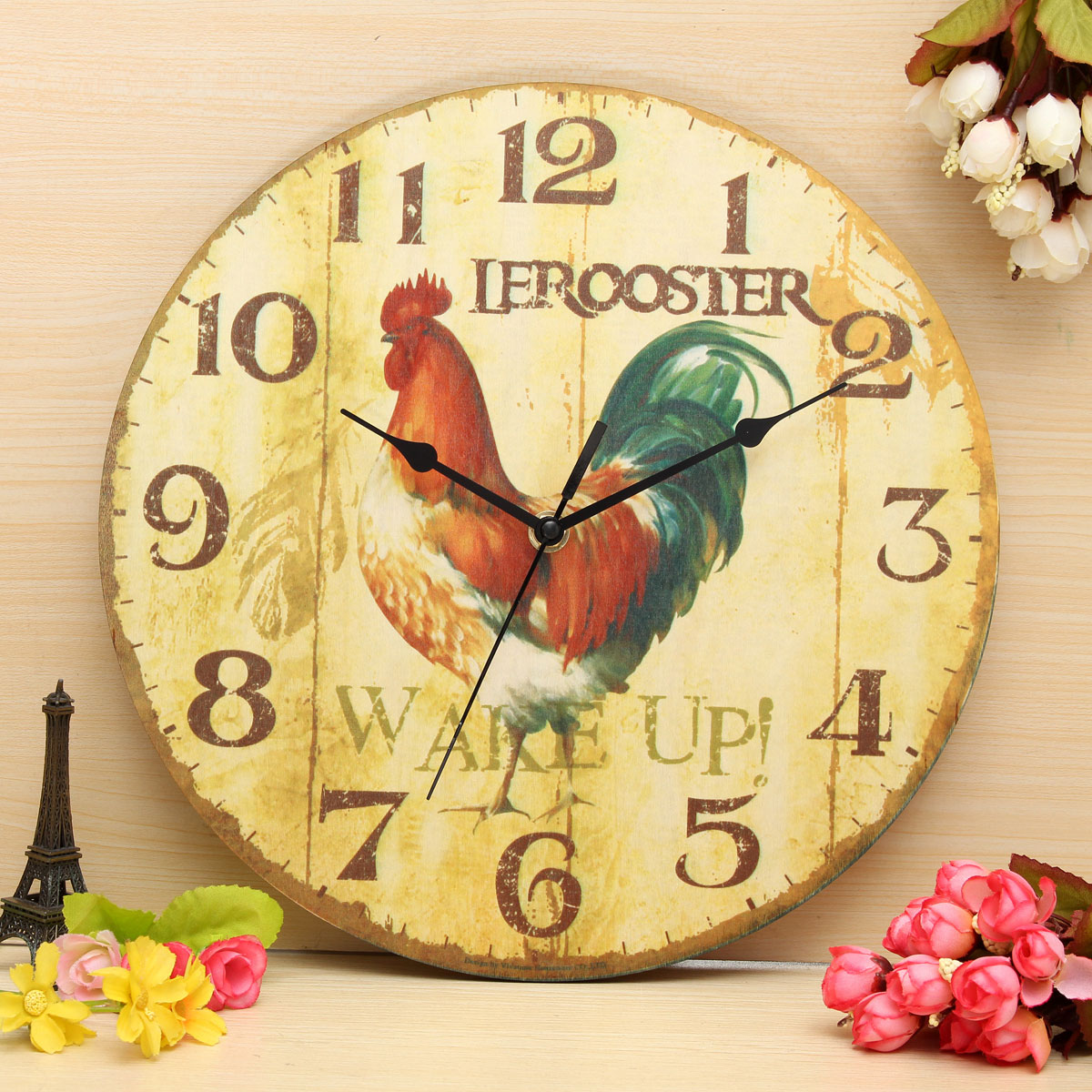 Vintage Wall Clock Retro Zakka Rustic Art Shabby Wooden Clock Home Office Cafe Bar Wall Decoration 30cm