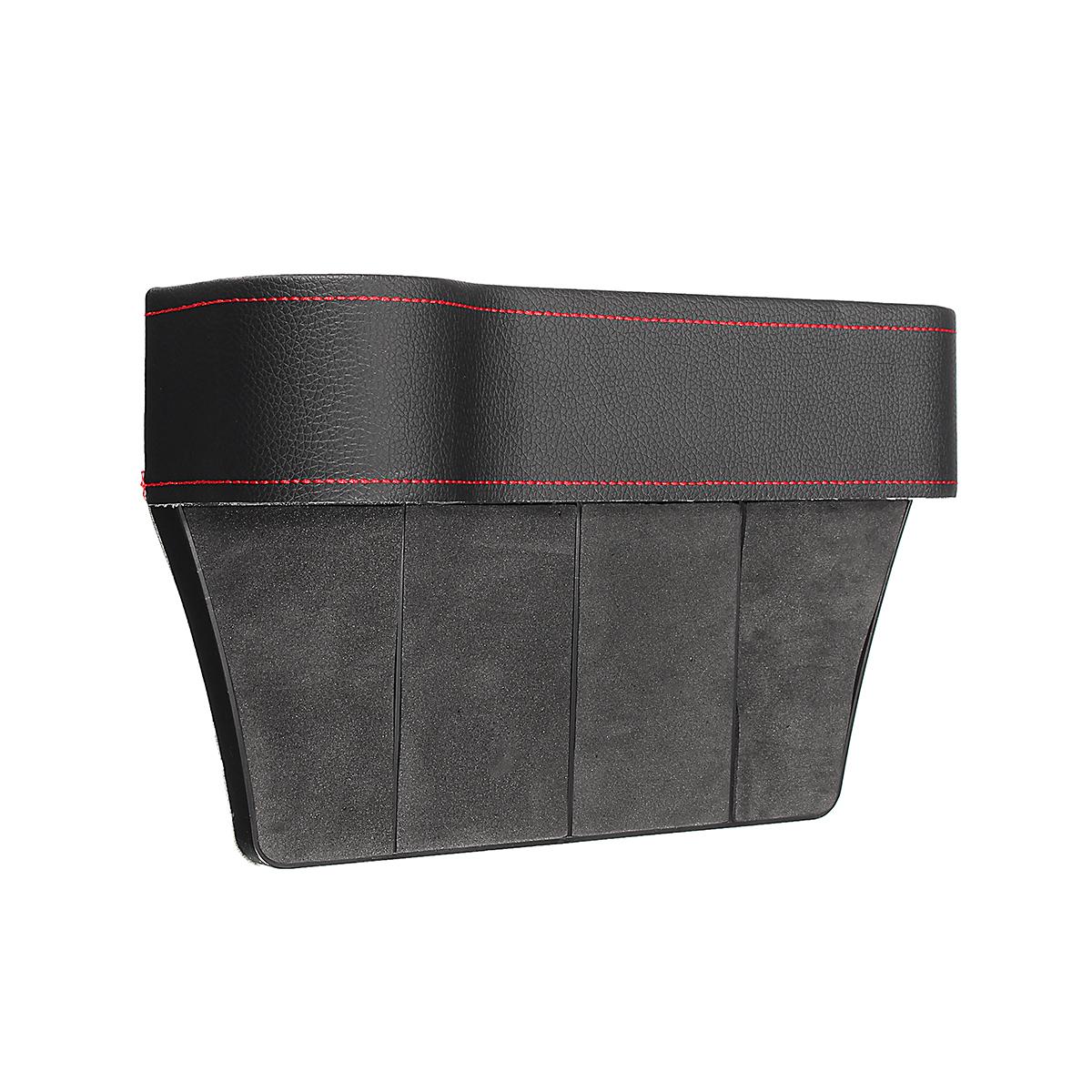 PU Leather Left Side Car Seat Crevice Gap Storage Box Pocket Organizer Phone Holder