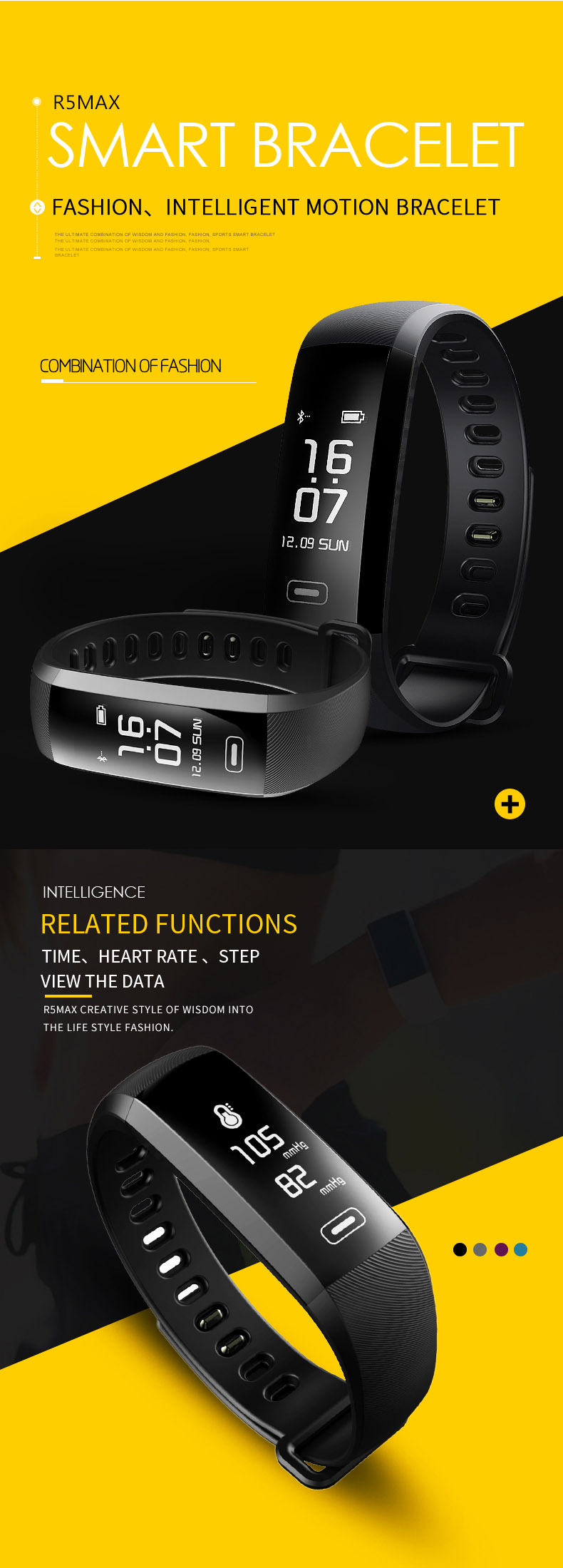CURREN R5 Max 0.96 Blood Oxygen Monitor Smart Bracelet