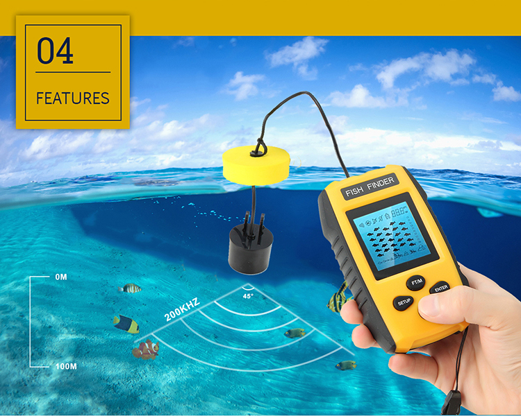 Bobing 328ft/100m Depth 2 Inch LCD Fishing Finder Sonar Portable Waterproof Sensor Fishing Tool