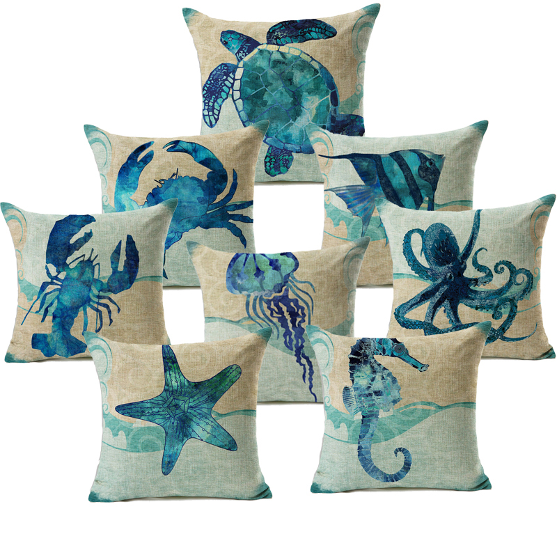 Honana 45x45cm Home Decoration Blue Sea Animal Printed 7 Optional Patterns Cotton Linen Pillowcases Sofa Cushion Cover
