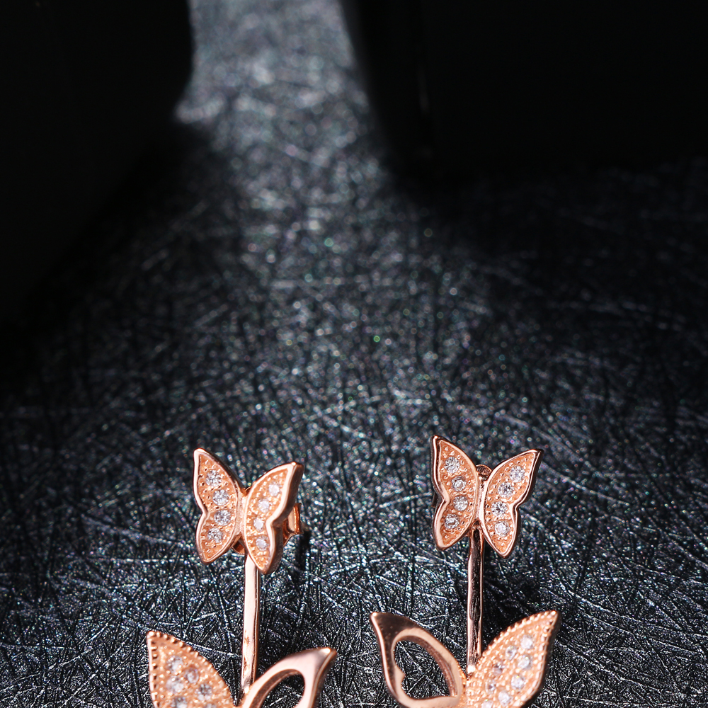 Sweet 925 Sterling Silver Rose Gold Earrings Butterfly
