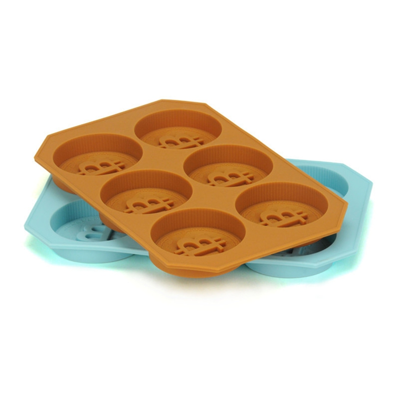 Silicone Chocolate Candy Pudding Mould 6 Cavity Bitcoin Coin Ice Maker Freezer Mold Tray Blue/Coffee