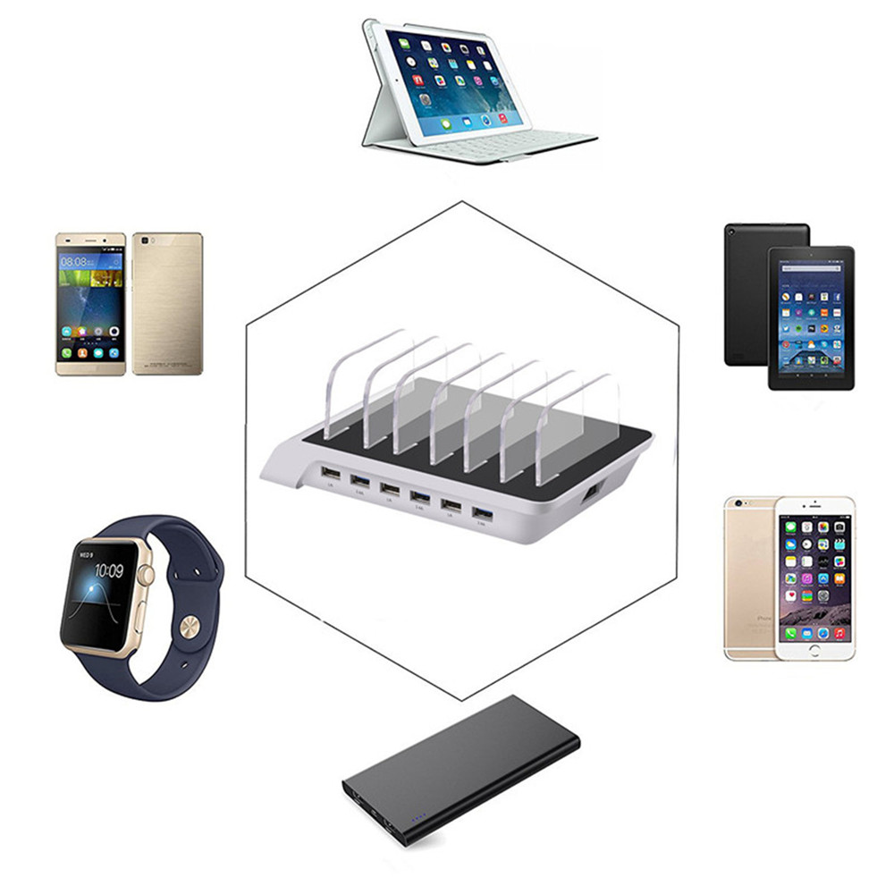 6 Multi Port USB Hub Charger Charging Dock Station Stand 10.2A For Tablet Phones