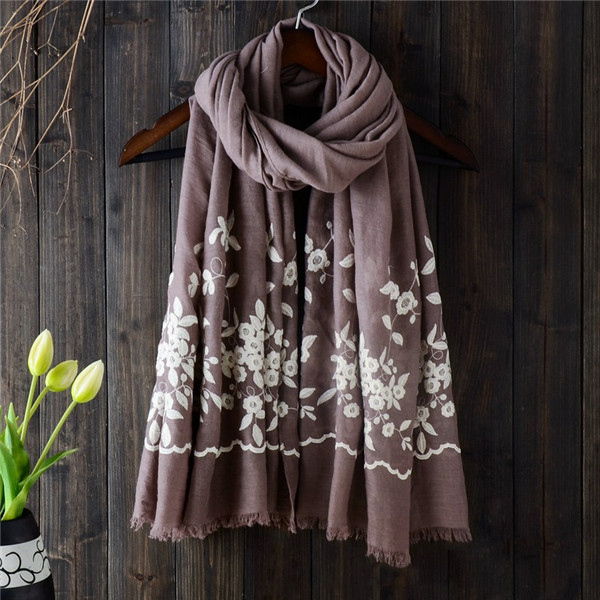 Women Noble Linen Lightweight Embroidery Printed Scarf