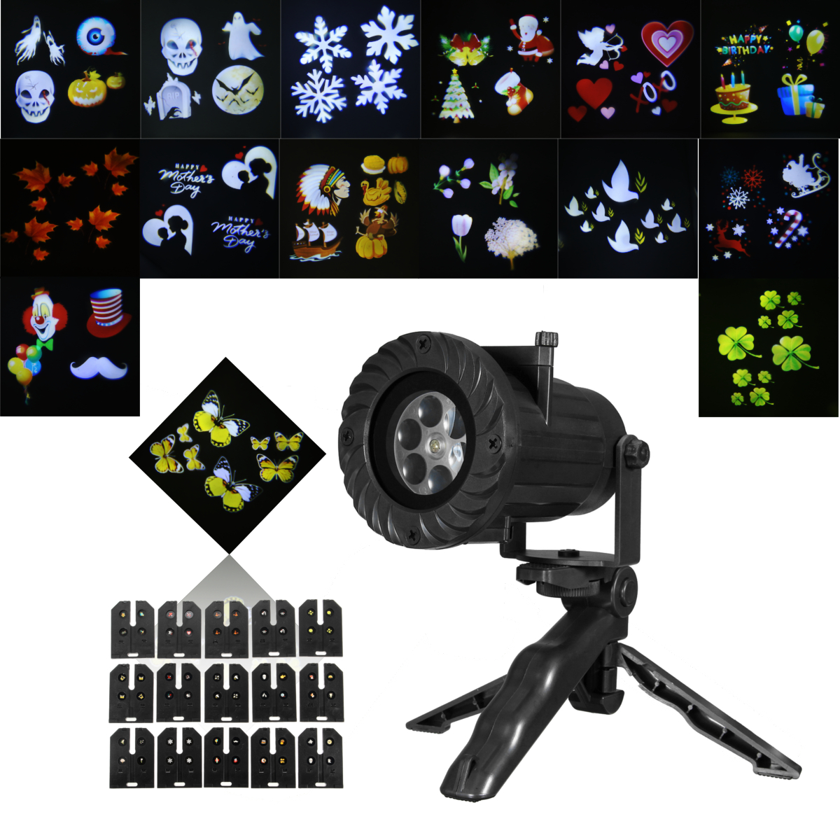 15 Patterns LED Projector Stage Light Party KTV DJ Disco with Remote