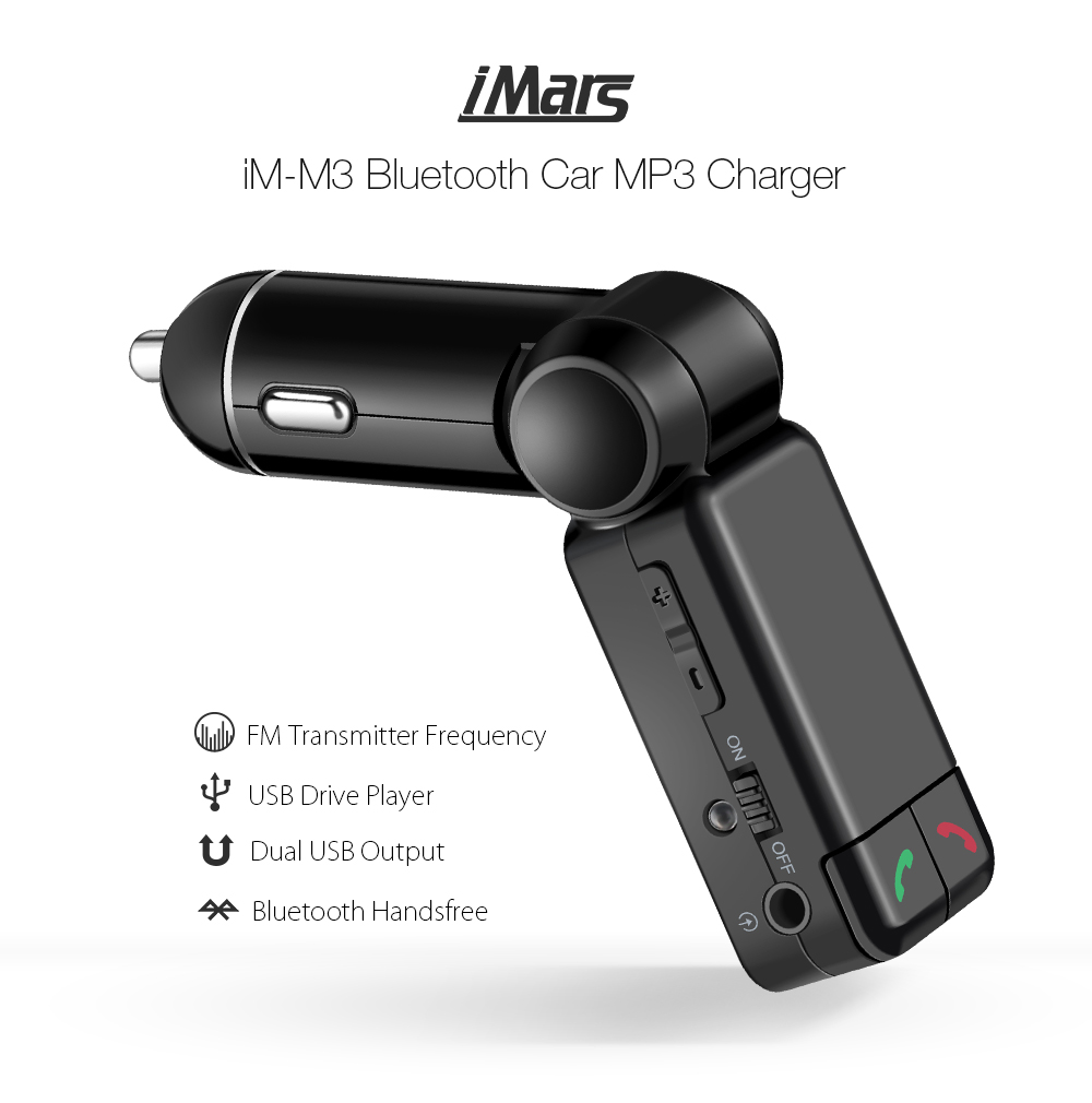 iMars™ iM-M3 Wireless bluetooth FM Transmitter Radio Stereo Adapter MP3 Player Car Kit Hands Free Calling with USB Charger