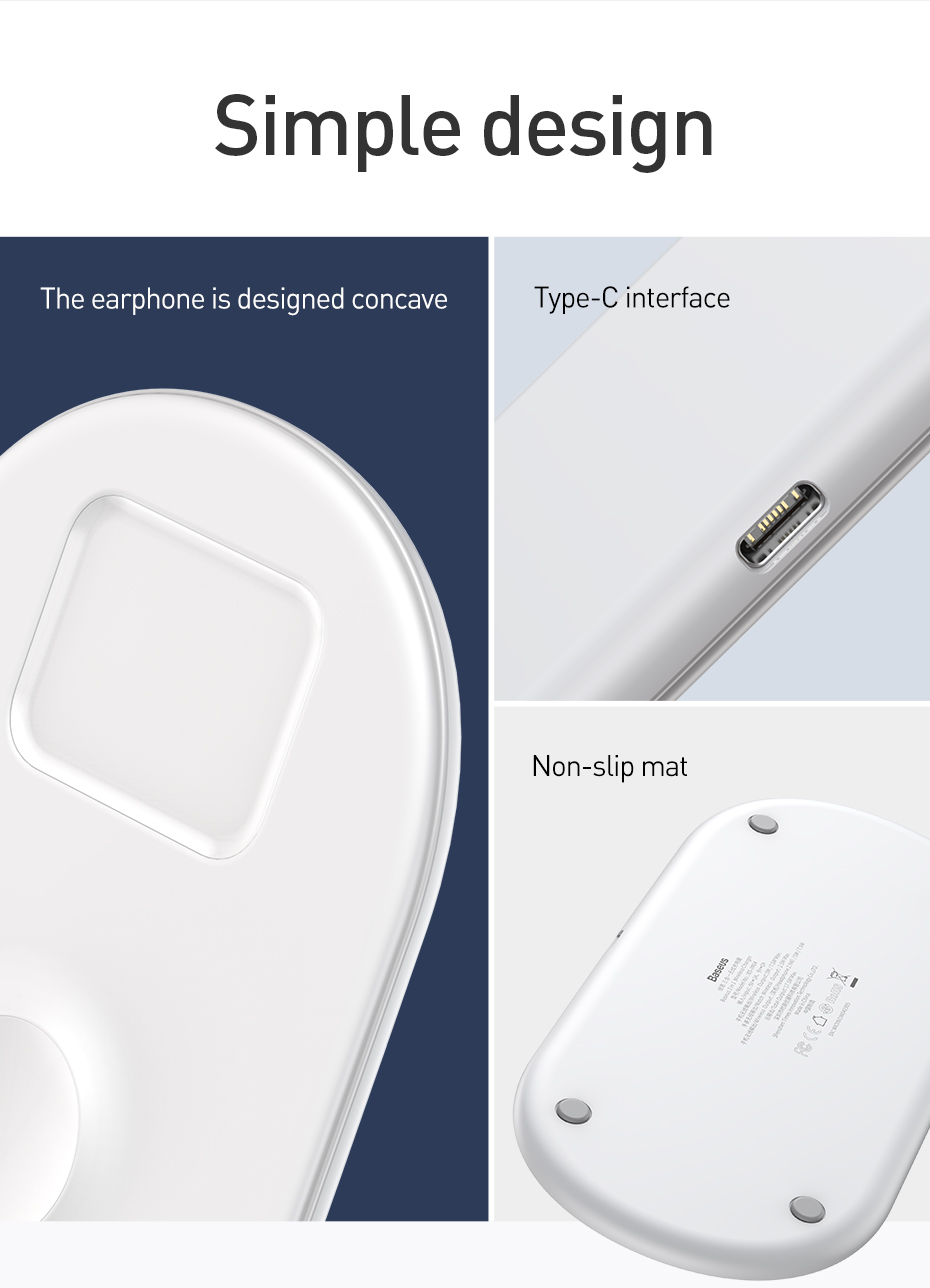 Baseus 3 In 1 Qi Wireless Charger With USB-To-Type-C Cable For Qi-enabled Mobile Phones iPhone XS Max Samsung Galaxy S10+ Apple AirPods Apple Watch Series 1 2 3 4