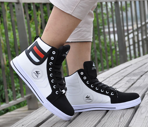 Men Round Toe High Top Sneakers Casual Leisure Lace Up Skateboard Shoes