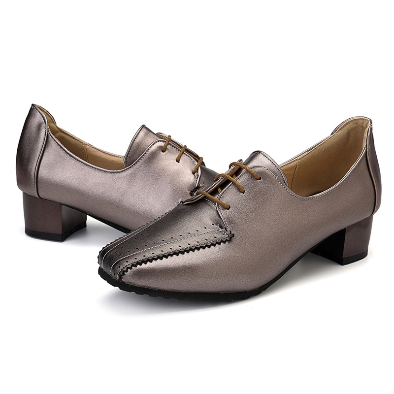 Large Size Square Heel Brogue Shoes