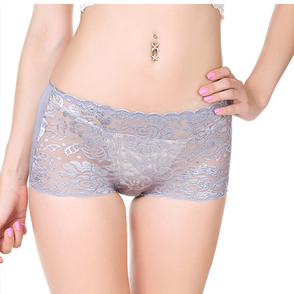Women Plus Size Sexy Lace Floral Boyshorts Transparent Mid Waist Bamboo Fiber Panties