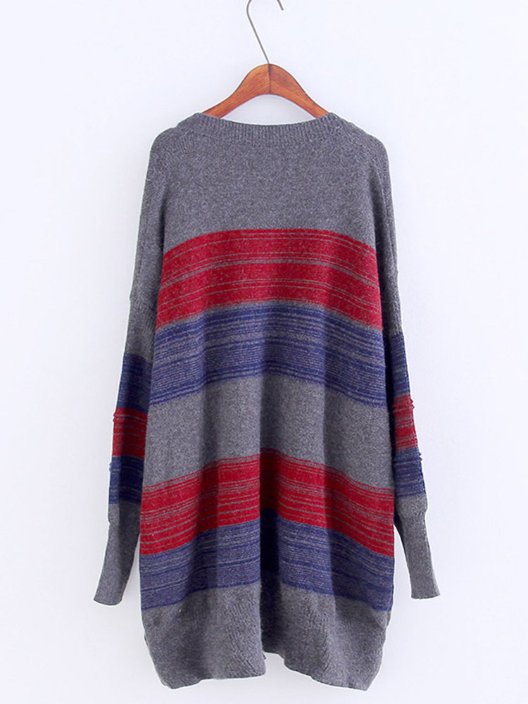 Women Patchwork V-neck Long Sleeve Knitting Pullover Sweaters