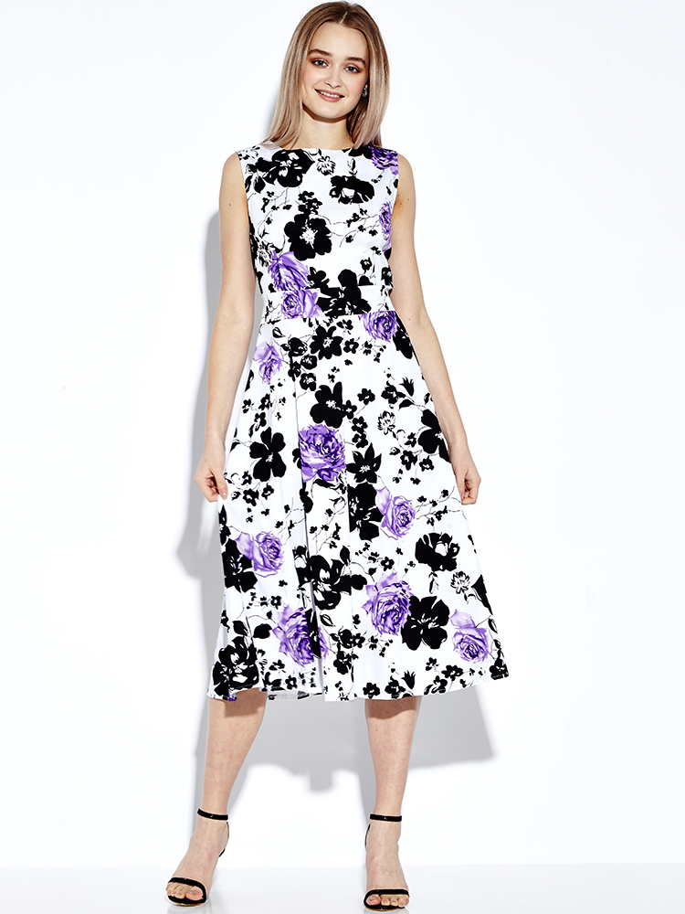 Retro Women Sleeveless Floral Printed Dress