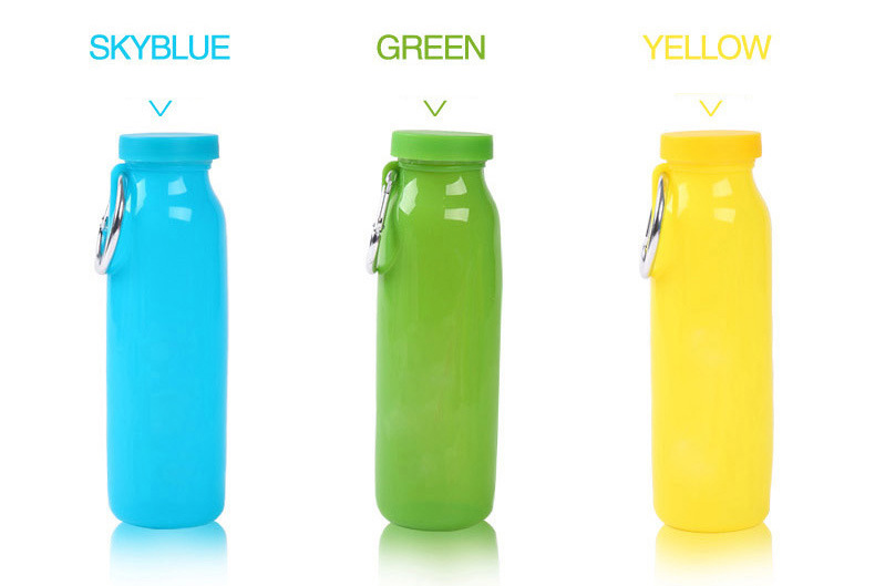 650ML Silicone Folding Water Bottle Portable Sports Travel Drinking Kettle