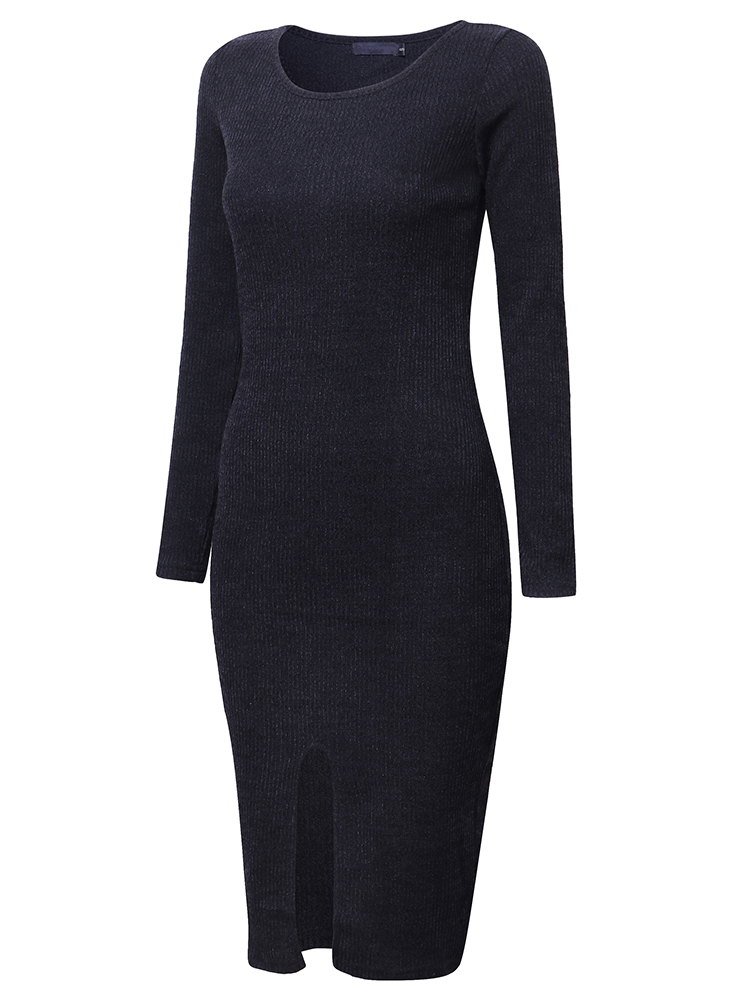Vintage Split Knit Long Sleeve Bodycorn Work Women Sweater Dress