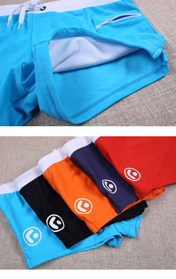 Mens Sexy Beach Summer Swimming Shorts Zipper Side Pocket Low Waist Casual Sports Spa Boxers