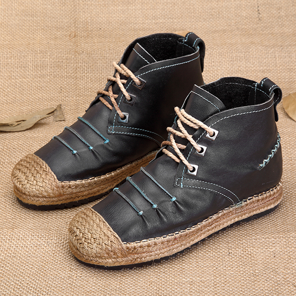 Stitching Lace Up Espadrilles Vintage Flat Casual Ankle Boots