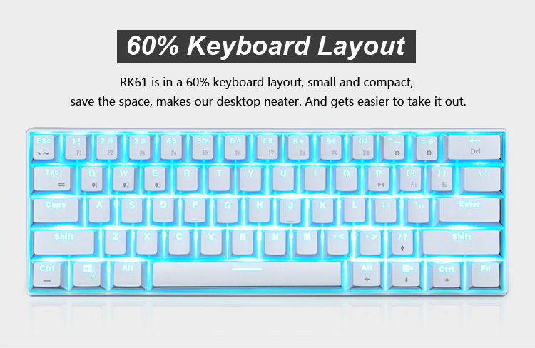[Cherry Mx Switch] RK61 Mini Portable Wired bluetooth Dual Mode 60% Mechanical Gaming Keyboard