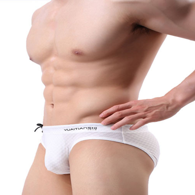 Drawstring Solid Color Swimwear Briefs for Men