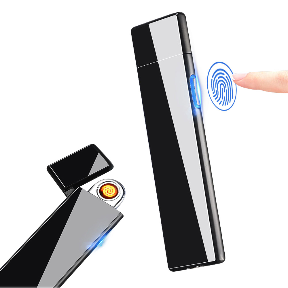 KCASA KC-D08 Ultra-thin Touch Induction Ignition Switch LED USB Lighter Windproof Flameless Electronic Double-sided Lighter