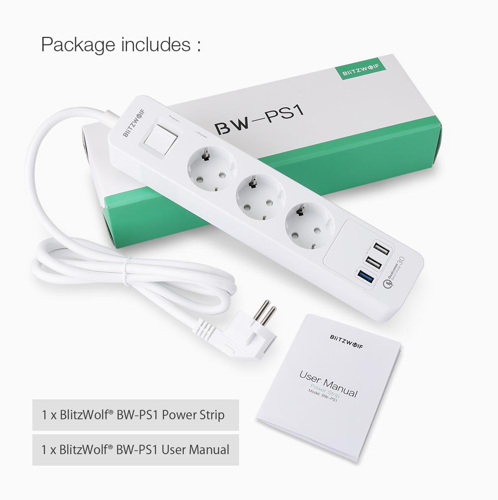 BlitzWolf BW-PS1 Power EU Plug Strip 3 USB Charging Port 3 AC Power Outlets Smart Home Qualcomm Quick USB Charging Socket