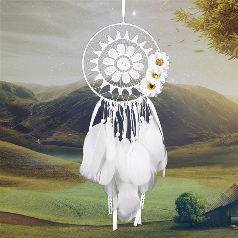 Craft Handmade Dream Catcher Artificial Feather Bead Hanging Decoration Ornament Gift New