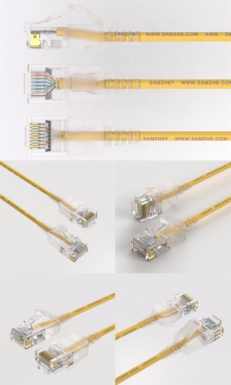 SAMZHE 0.5~5M 10Gbps Ultrafine CAT6A Yellow Ethernet Patch Cable Slim LAN Networking Cable
