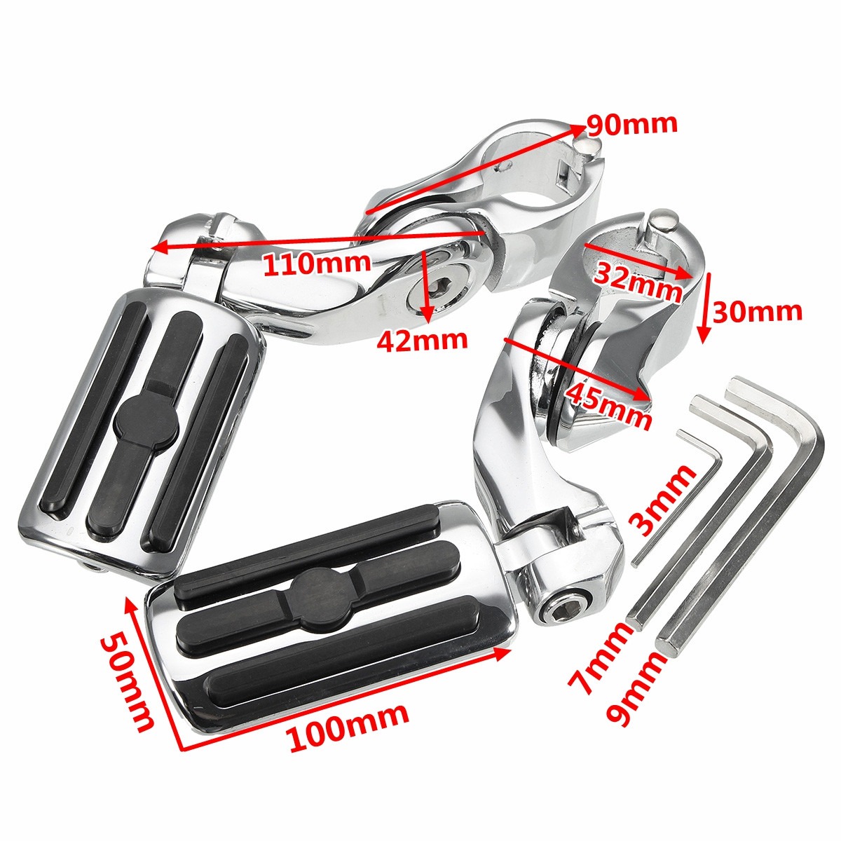Pair 1.25inch 3.2cm Adjustable Foot Pegs Pedals For Harley Davidson