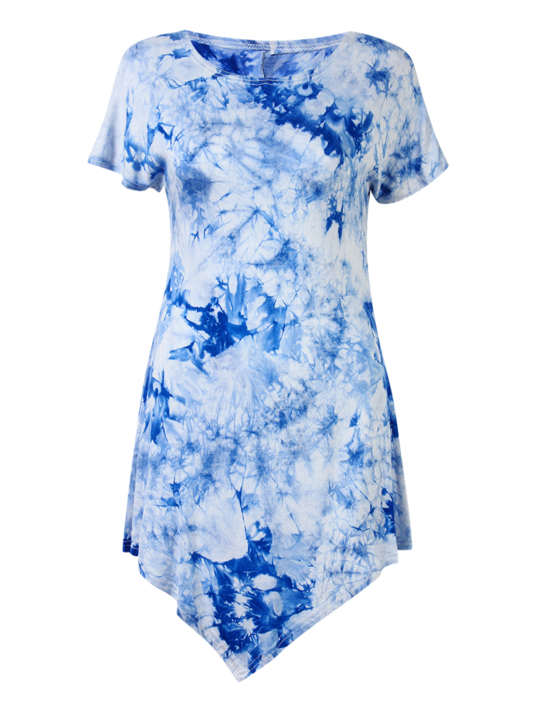 Women Irregular Short-Sleeve O-Neck Printing Hem Shirt Dress
