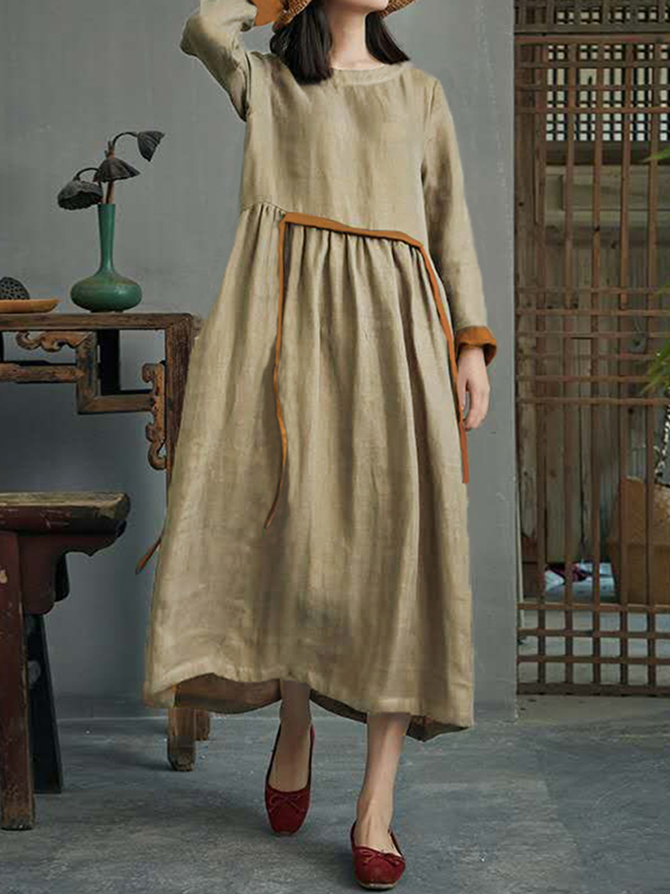 Women Vintage Cotton Long Sleeve High Waist Shirt Dress