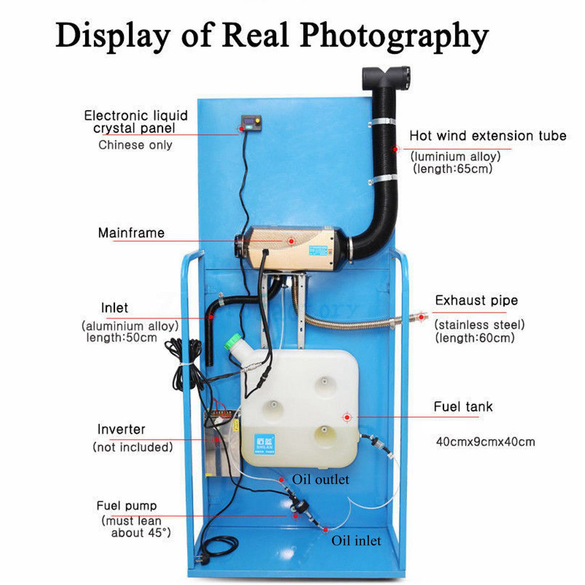 12V 2kw Diesel Air Parking Heater Air Heating LCD Screen Switch with Silencer