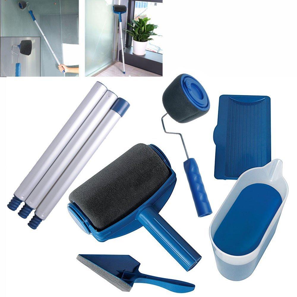 Honana 8 Pcs/set Pro Roller DIY Brush Handle Tool Flocked Edger Room Wall Painting Home Office Room Multifunction Brush Set
