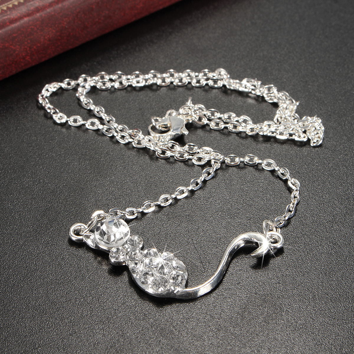 Cute Small Cat Crystal Necklacee Earrings Jewelry Set For Women