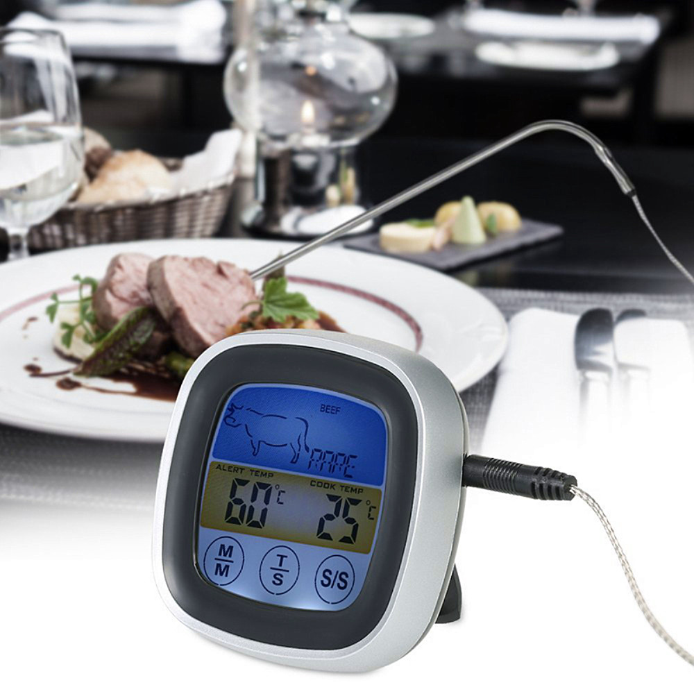 TS-S62 Digital Meat Thermometer Oven Colorful Touchscreen Instant Read Probe Kitchen BBQ Cooking Thermometer with Timer Alert Function