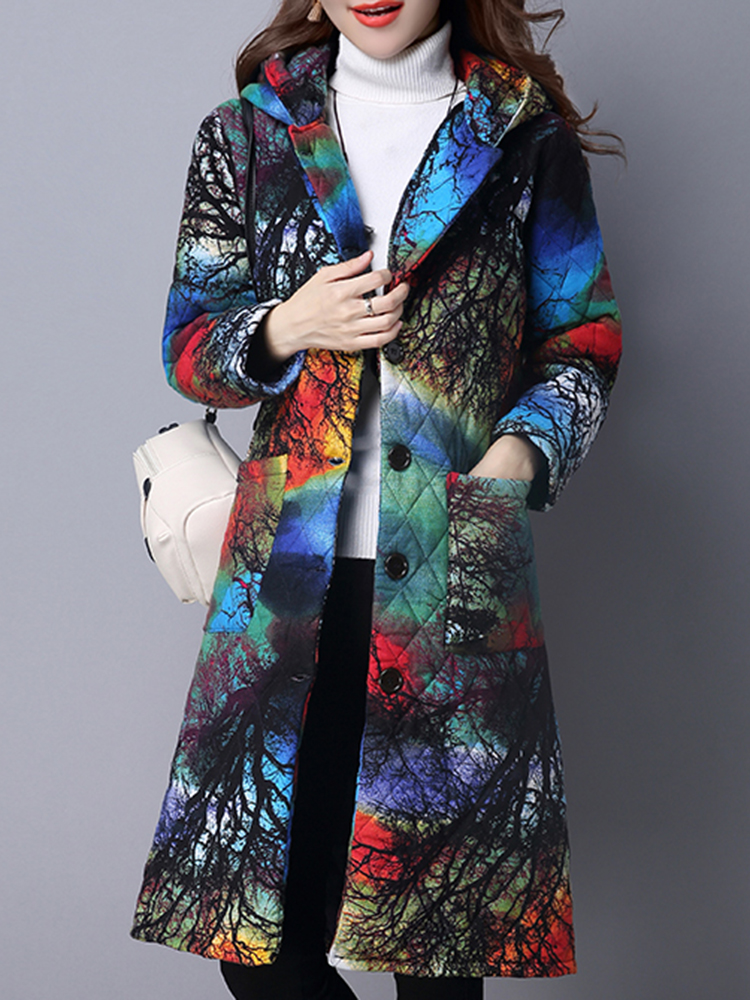 Floral Print Long Sleeve Thicken Pockets Chinese Style Hooded Women Coats