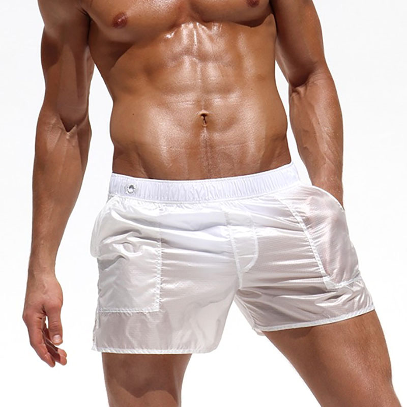 Mens Fashion Sexy Translucent Sport Polyester Beach Shorts