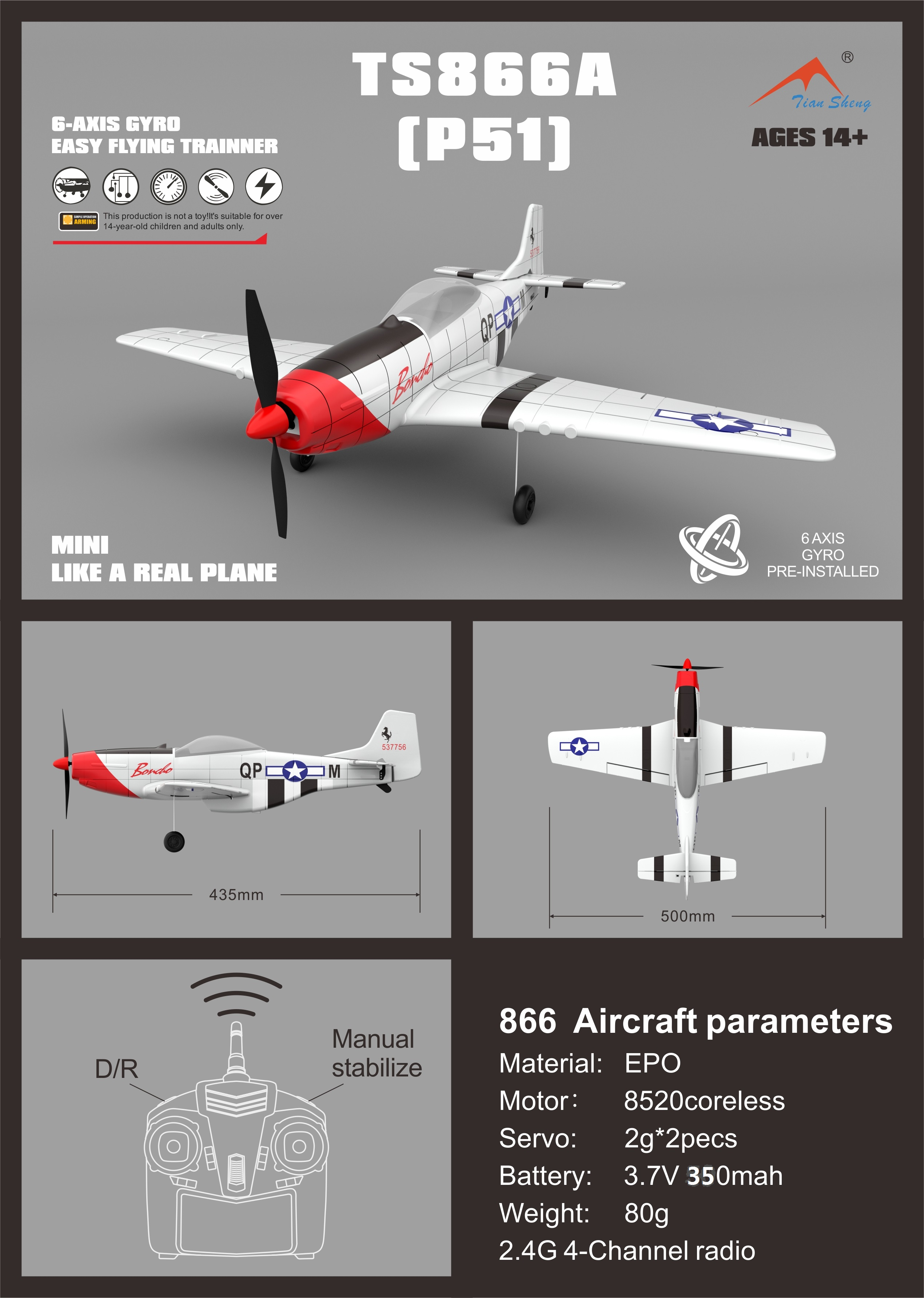 P51 2.4G 4CH 6-Axis Gyro Easy Flying Trainer EPO Warbird RC Airplane RTF