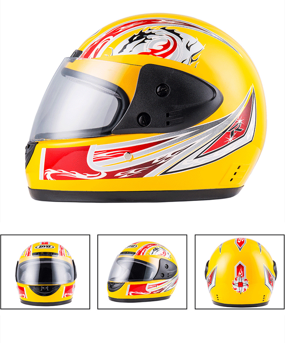 BYB Universal Motorcycle Full Face Helmet With Neck Protection Anti-fog Breathable