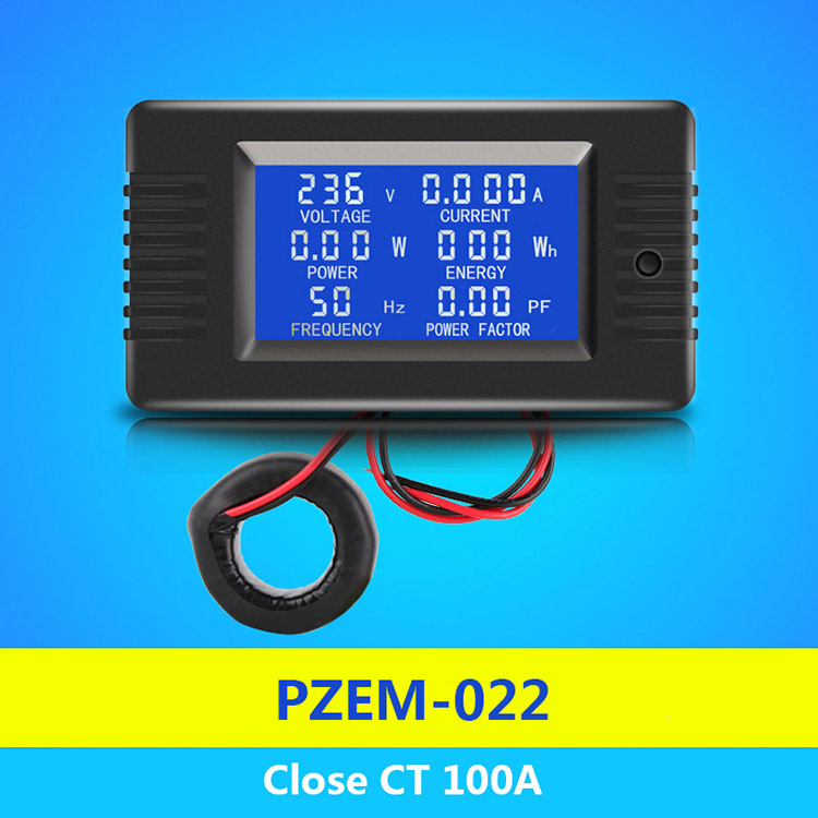 PZEM-022 Coil CT Closed Transformer 100A AC Digital Display Power Monitor Meter Voltmeter Ammeter Frequency Current Voltage Factor Meter
