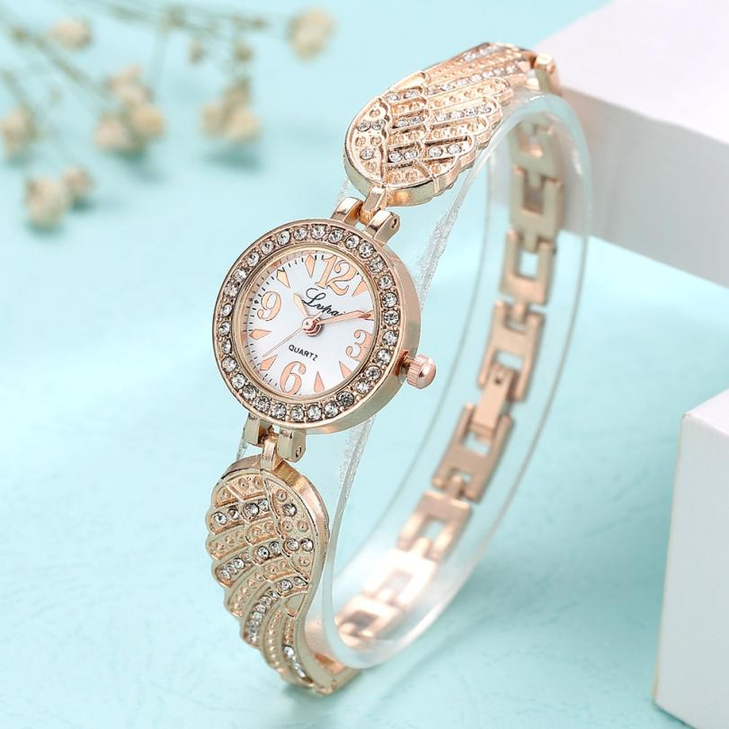 LVPAI Stainless Steel Rhinestone Women Bracelet Watch Casual Style Quartz Watches