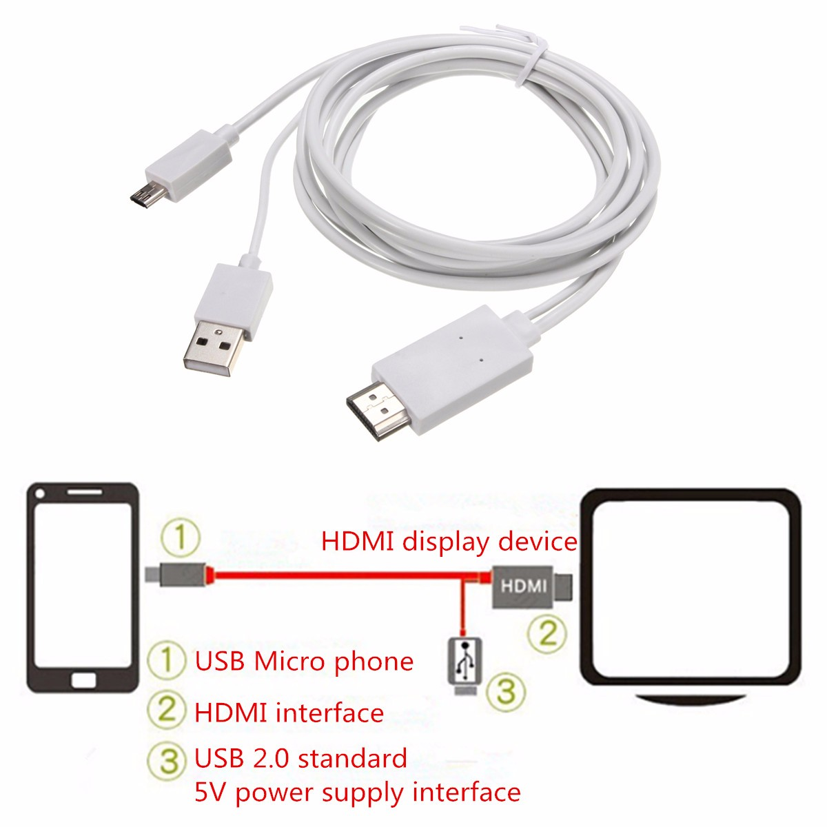 Micro USB 5-pin 11-pin MHL to High Definition Multimedia Interface 1080P Adapter Phone Video Cable