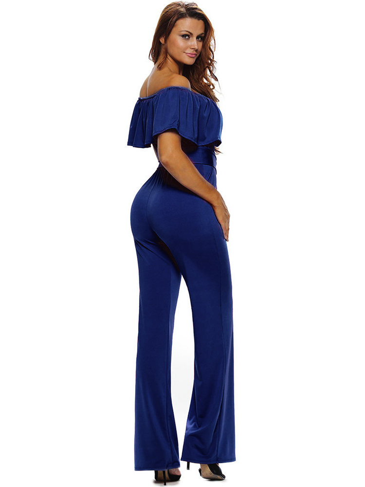 Ruffles Women Sexy Off Shoulder High Waist Wide Leg Jumpsuits With Belt