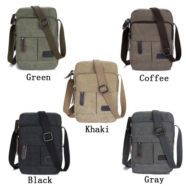 Men's Canvas Leisure Crossbody Bag Outdoor Multifunction Shoulder Chest Pocket