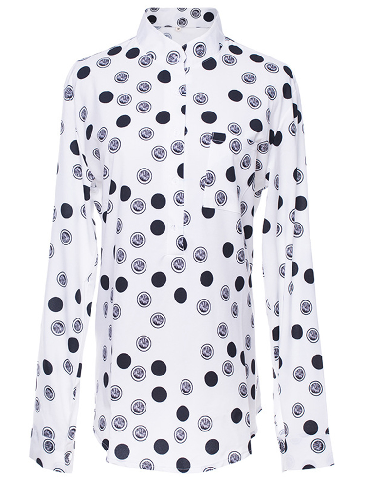 Women Elegant Polka Dot Long Sleeve Shirts