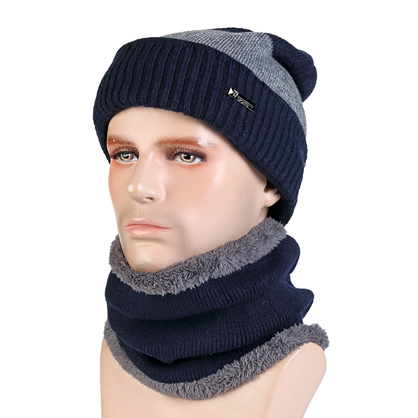 Men Winter Wool Blend Warm Knitted Hat And Scarf Set