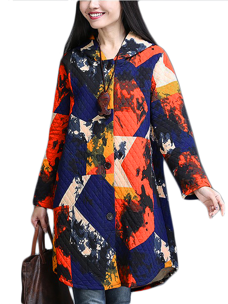 Women Vintage Print Thick Long Linen Hood Coat